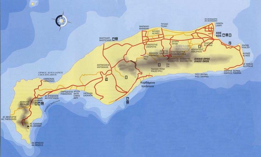 Map of the island of Kos