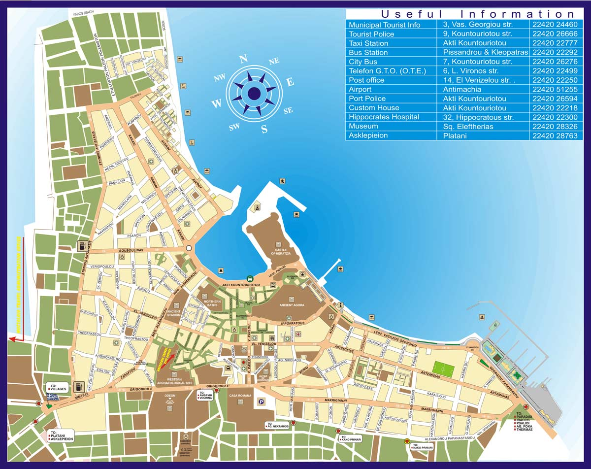 Map of Kos Town Nostalgia Travel Agency in Kos island Dodecanese